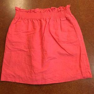 J. Crew Elastic Waist Coral Skirt w/ Pockets Sz 4